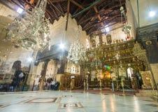 诞生内部的教会,伯利恒,以色列 图库摄影