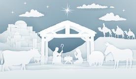 诞生圣诞节基督徒场面 库存例证