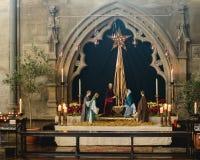 诞生场面在布里斯托尔大教堂里 库存照片