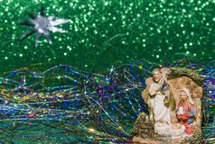 诞生场面耶稣基督、玛丽和约瑟夫 免版税库存照片