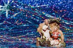 诞生场面耶稣基督、玛丽和约瑟夫 免版税图库摄影