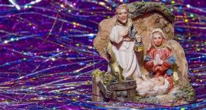 诞生场面耶稣基督、玛丽和约瑟夫 库存照片