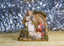 诞生场面耶稣基督、玛丽和约瑟夫 库存图片