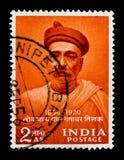 诞生百年Bal Cangadkar Tilak 1856-1920 -新闻工作者,百年-个性serie,大约1956年 免版税库存图片