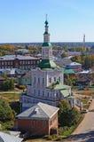 诞生的教会在古老俄国镇Tot'ma 免版税库存照片