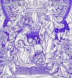 诞生石版印刷在未知的艺术家的Missale Romanum有最初的F M 从结尾的S的19 分 免版税库存图片