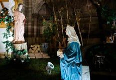 诞生饲槽场面在巴黎圣母院 库存图片