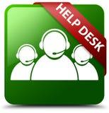 询问台顾客关心队象绿色正方形按钮 免版税库存图片