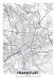 详细的传染媒介海报城市地图法兰克福
