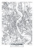 详细的传染媒介海报城市地图科隆