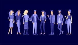 详细的字符学生,生活方式,年轻人夫妇街道时髦的衣裳样式的 年轻人与 皇族释放例证