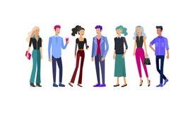 详细的字符学生,生活方式,年轻人夫妇街道时髦的衣裳样式的 年轻人与 库存例证