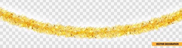 详细的宽金黄圣诞节诗歌选 Xmas闪亮金属片边界 假日设计,网站的传染媒介装饰 免版税库存图片