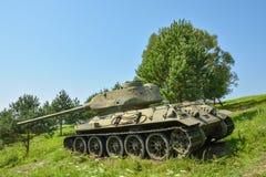 详细的看看从WW2的苏维埃T34坦克在死亡谷  免版税库存照片