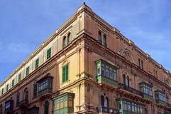 详细的美丽的大厦在市瓦莱塔,在马耳他 库存图片
