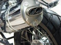 详细资料尾气摩托车 免版税库存图片