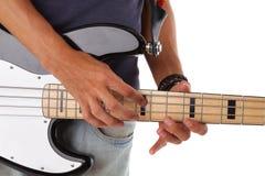 详细资料电吉他音乐家使用 免版税库存照片