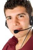 详细资料耳机人年轻人 免版税库存照片