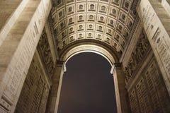 详述凯旋门,巴黎, 12月弧看法  图库摄影