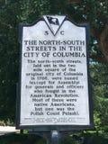 详述南卡罗来纳历史的招贴命名北部&南街道在哥伦比亚, SC 库存照片