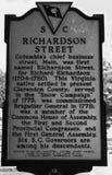 详述南卡罗来纳历史的招贴命名里查森街在哥伦比亚, SC 免版税图库摄影
