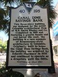 详述南卡罗来纳历史的招贴运河角钱储蓄银行大厦的创作在主要St的在哥伦比亚, SC 库存照片