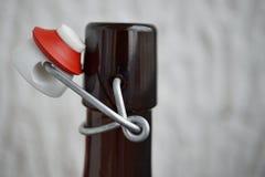详述在减速火箭的设计的啤酒瓶盖帽看法由金属、陶瓷盒盖和塑料海豹捕猎制成 免版税库存图片