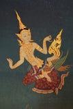 详述在墙壁上的古老绘画在Wat素他寺庙 库存照片