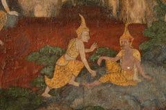 详述在墙壁上的古老绘画在Wat素他寺庙 免版税库存图片