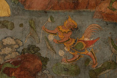 详述在墙壁上的古老绘画在Wat素他寺庙 免版税库存照片