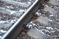 详述多雪的俄国冬天铁路在明亮的阳光下 路轨和睡眠者在12月下下雪 在d的俄国铁路 库存图片