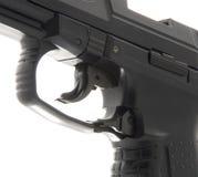 详述宏观手枪触发器 库存照片