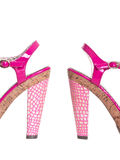 详述滑稽的脚跟高粉红色 免版税库存照片