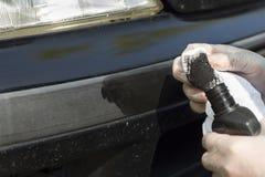 详述的老汽车 丰收油漆的再生 免版税图库摄影