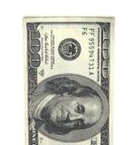 详述的蓬松堆金钱美国人在白色背景隔绝的一百元钞票3d 向量例证