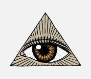 详述的面孔 看见在三角的眼睛 时尚女孩的纹身花刺艺术品 刻记手拉在老葡萄酒剪影 库存例证