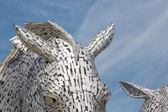 详述看法凯尔派,马头雕塑在福尔柯克附近的 图库摄影