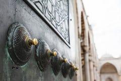 详述蓝色清真寺的门 图库摄影