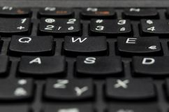 详述黑键盘键信件特写镜头视图  免版税图库摄影