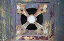 详细片段金属铁锈生锈的表面纹理 免版税库存照片