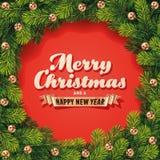 详细的圣诞节花圈卡片 库存图片