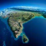 详细的地球。印度和斯里兰卡 免版税库存照片