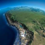 详细的地球。玻利维亚,秘鲁,巴西 图库摄影