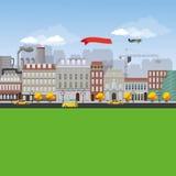 详细的平的设计都市风景 免版税库存图片
