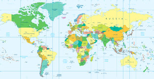 详细的政治世界地图 免版税库存图片