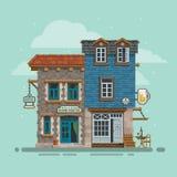 详细的旅舍和酒吧大厦门面 向量 免版税库存图片