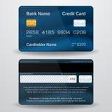 详细的现实传染媒介信用卡 前面和后部 免版税库存照片
