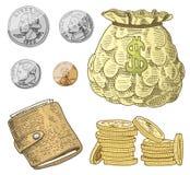 详细的货币钞票或美国人富兰克林绿色100美元或现金和硬币 刻记手拉在老剪影 皇族释放例证