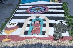 语科库domini christi庆祝的瓣和花地毯 图库摄影