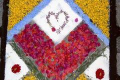 语科库domini christi庆祝的瓣和花地毯 免版税库存图片